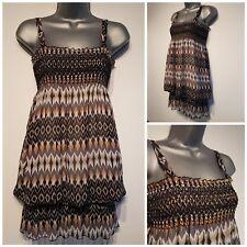 Size 8 Top Black White Grey Orange Sheer Excellent Condition Women's
