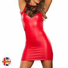 Womens Sexy Black Red Faux Leather Sleeveless Wet Look Lace Mini Dress Plus Size