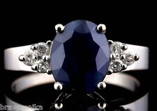 NATURAL 2.30 CTW BLUE SAPPHIRE AND DIAMONDS 14K WHITE GOLD RING SIZE 6.75, NEW