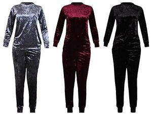 Ladies Plus Size Velour Loungewear 2 Piece suit Set Long Sleeve Top Leggings