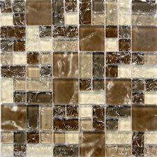 Natural Brown Crackle Pattern Glass Mosaic Tile Sample~ Kitchen Backsplash Wall