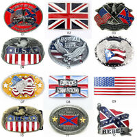 Western Cowboy Metal Alloy USA Flag Belt Buckle For Mens Leather Belt Jewelry US