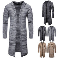 b7e59506fd36c Men s Hooded Trench Coat Jacket Slim Long Sleeve Knitted Cardigan Casual  Sweater