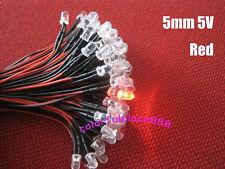 5mm 5V 6V 7V Pre-Wired Red Yellow Blue Green Warm White Orange UV Pink LED 20CM
