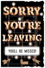"Sorry You're Leaving Greetings Card - Brown Text, Bright Signs & Arrows 9"" x 6"""