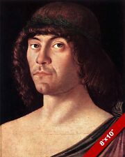 BELLINI'S PORTRAIT OF A HUMANIST MAN 1400'S ERA PAINTING ART REAL CANVAS PRINT