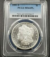 1881 S Morgan Silver Eagle Dollar Coin PCGS MS62 PL PROOF LIKE BU CERTFIED