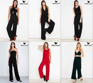 NWT S, M ,L,XL From Wet Seal Great Women's Flare Wide Leg Black Red Jumpsuit New