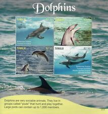 Tuvalu 2017 MNH Dolphins Bottlenose Dolphin 4v M/S Marine Animals Stamps