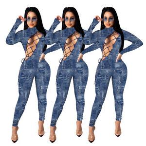 Sexy Women Jeans Bandage Tie Long Sleeve Pacthowork Club Jumpsuit Romper New US