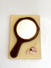 Vintage Brown Plastic Hand Held Mirror | Collectible Mirror