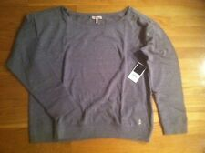 JUICY COUTURE WOMENS GRAY DOLPHIN OFF THE SHOULDER CREW TOP ORG. $98 SIZE XLARGE