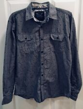 Drill Black Gray Long Sleeve 2 Pocket Button Front Shirt Mens Size Small