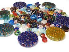 30 Millefiori Perlen Gemischte 8-28mm Linsen Glasperlen Bunt Schmuck Basteln R77