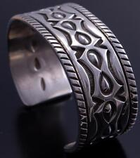 All Silver Men's Concho Stamp Bracelet by Erick Begay UA31S