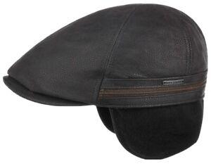 Stetson XL 61 Cowhide Duckbill Leather Earflap Newsboy Black Gatsby Flat Cap