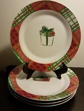 """PAI Christmas Gifts Appetizer / Salad plate set of 4, 8"""", Pink, Plaid, Excellent"""