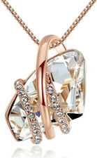 Ladies Fashion 18k Rose Gold Plated White Crystal White Zircon Necklace Jewelry