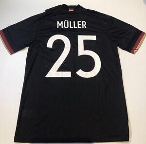 Germany Away Jersey 2020 Euros Adidas Black M-L NWT #25 Muller