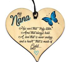 Nanny Gran Granny Birthday Christmas Gift Novelty Plaque Hanging Wood Heart