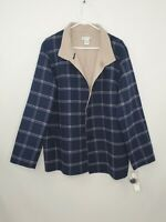 $268 Pendleton Reversible Womens XL Merino Wool Button Plaid Jacket