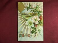 Vintage 1915 A Happy Easter Postcard lily farm house