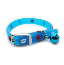 Glow in Dark Novelty Cat Collar Heart Paw Adjustable Bell Kitten Puppy Hi-Vis UK