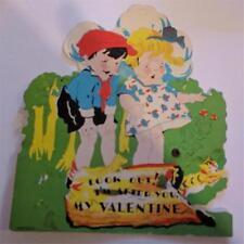 "Vintage Valentine Mechanical Large 5 x 6"" Children Watch Animal Emerge from Log"
