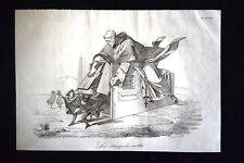Incisione d'allegoria e satira Sant'Uffizio, Inquisizione Don Pirlone 1851
