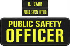 PUBLIC SAFETY OFFICER embroidery patches 4x11 and 1x5 hook on  back blk/yellow