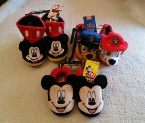 lots of new mickey mouse & paw patrol warm slippers for kids, size 7-8