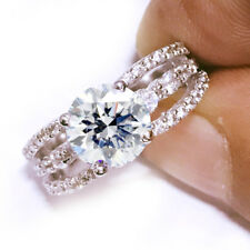 4.46ct D-h/Color vvs1 WHITE ENGAGEMENT GORGEOUS .925 Sterling SILVER RING size 7