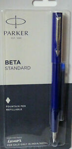 Parker Beta Standard Fountain Pen Refillable Blue Body And Blue Ink