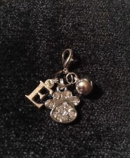 Personalised Diamanté Crystal Paw,Initial And Bell Clip On Charm For Pet Collars