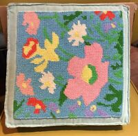 Needlepoint Pillow Square Blue Floral Corduroy