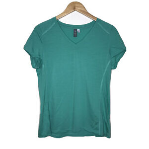 Ibex Merino Wool Blend Fitted V-Neck Short Sleeve Green Top Womens L