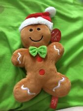 NEW Gingerbread Man In Red Christmas Hat Stuffed Toy Stuffie Gift Present