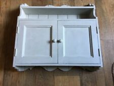 Vintage Small Painted Wall Hanging Cupboard with Display Shelves Grey