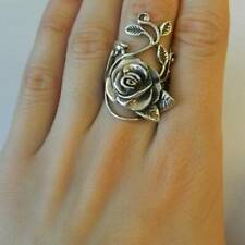 Retro 925 Silver Rose Flower Leaf Vine Floral Ring Women's Party Dressup Jewelry