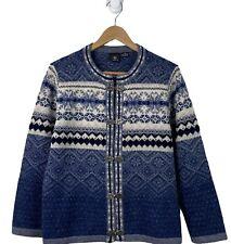 SKYR -Womens Size L Navy Blue Gray Wool Cardigan Sweater Fair Isle Clasps Nordic