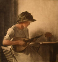 Peter Ilsted (1861-1933). Interior with mandolin playing young woman. Mezzotinte