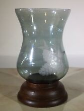 Hurricane Candle Holder Glass And Wood With Pinecone Etched Design