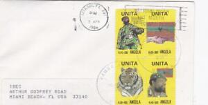 ANGOLA 1986 COVER to USA WITH BLOCK of UNITA STAMPS WITH ENCLOSED INFORMATION