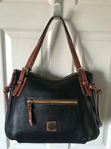Dooney Bourke Handbag Nina Black Pebble British Tan Trim Shoulder Bag
