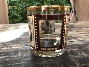 Vintage ROARING TWENTIES Movie Theme Rocks Glass Chaplin / Fairbanks / Barrymore