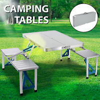 One-Piece Folding Camping Picnic Table 4 Seats Bench Aluminum Portable Suitcase
