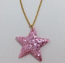 ROSE ROSA GRANDE STELLA GLITTER CHARMS Collana D204 Glitter ciondolo catena d'oro