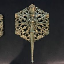 Pair of vintage Homco gold wall candle sconces - l977