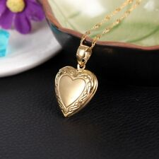 "24K Gold Plated Heart Small Locket Photo Picture Pendant Necklace 18"" N7"