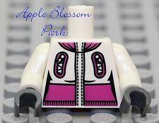 NEW Lego Female WHITE MINIFIG TORSO Girl w/Pink Ski Jacket Coat Gray Glove Hands
